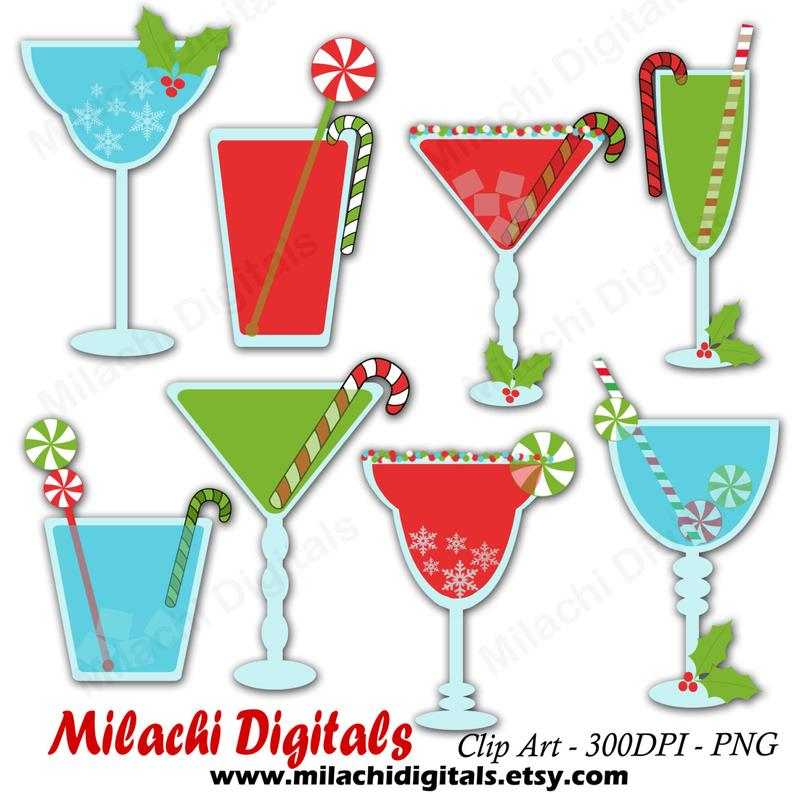 Christmas cocktails clipart, holiday drinks clipart, vector graphics,  winter clipart, digital clip art, commercial use.