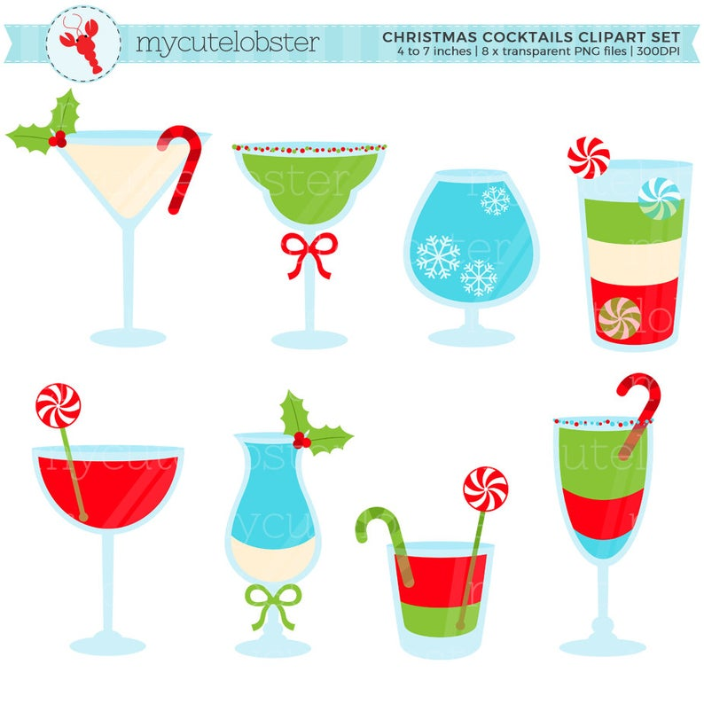 Christmas Cocktails Clipart.