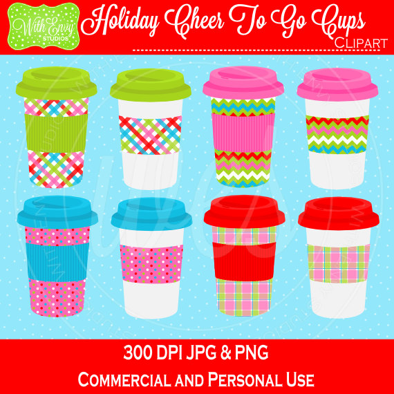 Items similar to 50% OFF Holiday Drink Cups Digital Clipart Set.