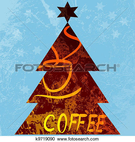 Stock Illustrations of Christmas tree, holiday coffee. vector.