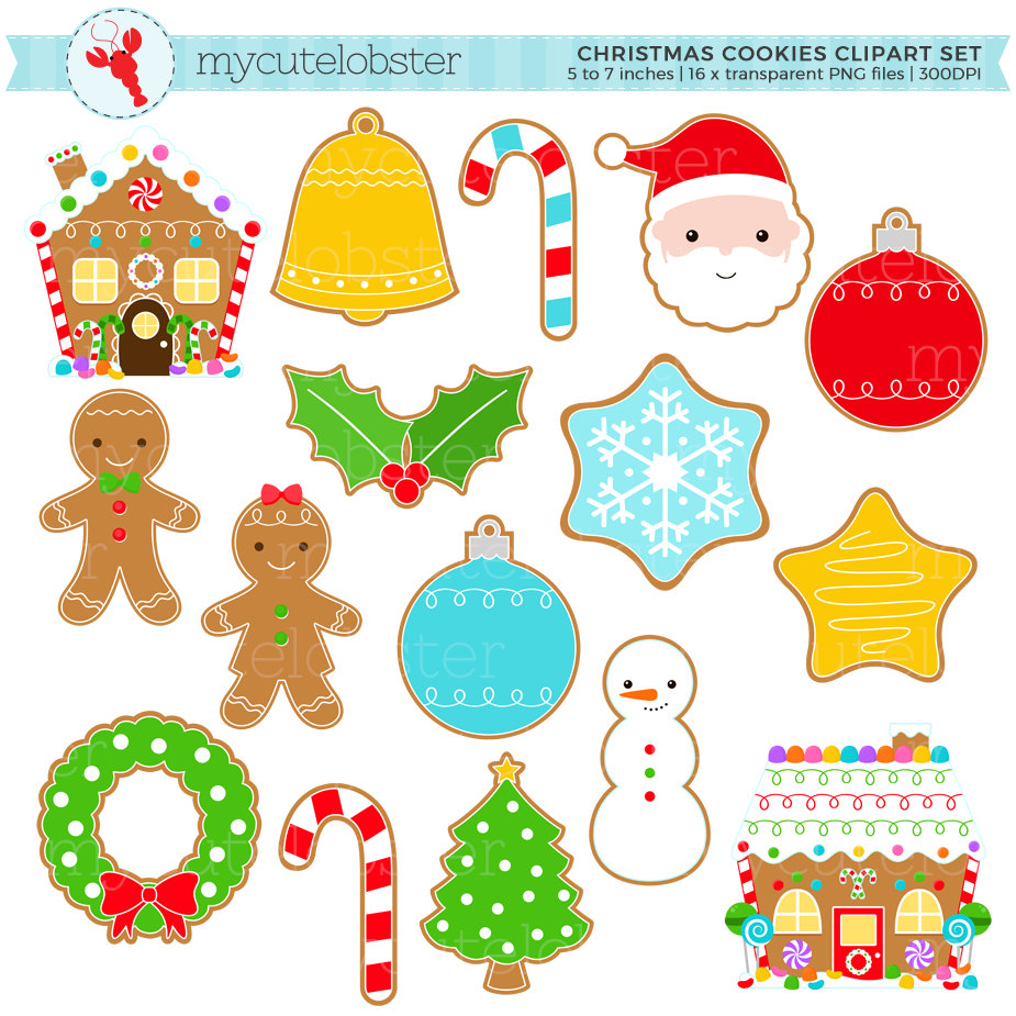Christmas Cookies Clipart Set.