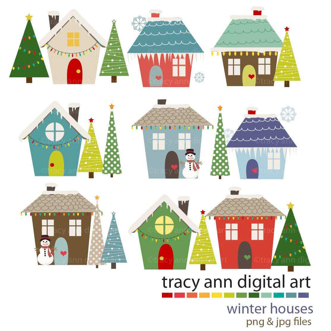 Cute winter house clipart.
