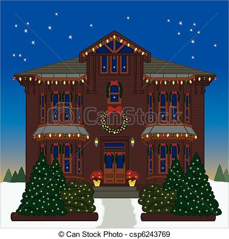 EPS Vectors of Holiday House Night.