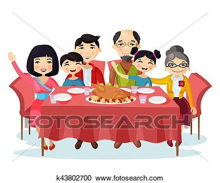 Holiday dinner with turkey of cartoon family Clipart.