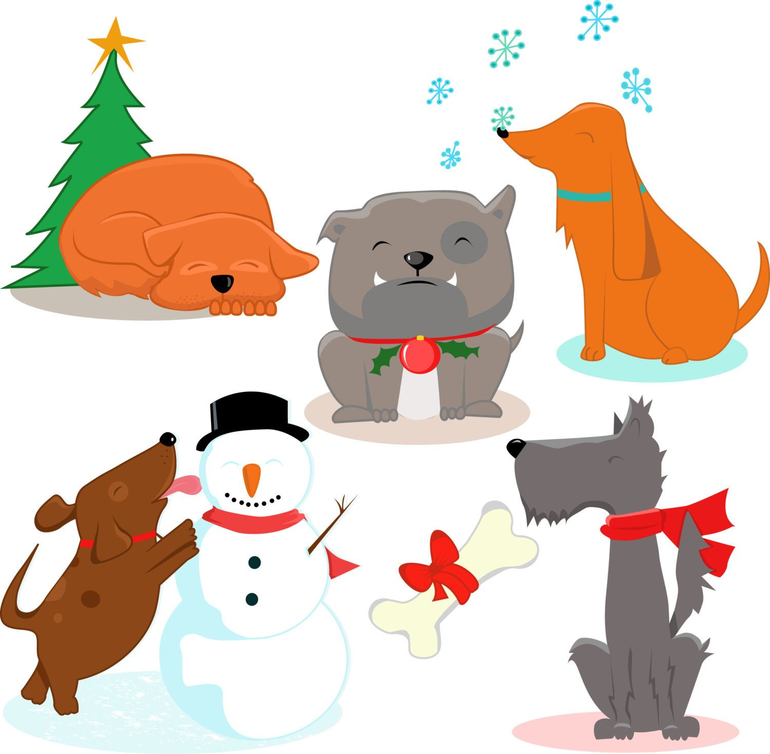 Premium dogs clipart, Cute dog , Xmas clipart, Christmas dog.
