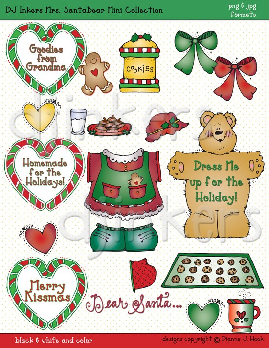Mrs. Santa Bear Christmas clip art by DJ Inkers.