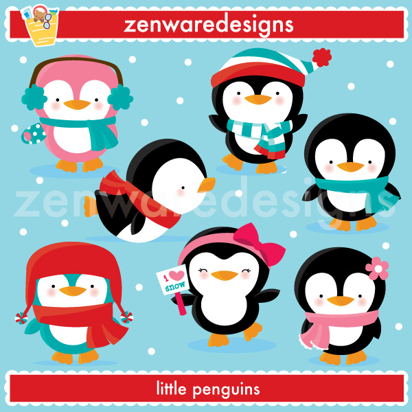 Description: Precious little penguins are geared up for the winter.