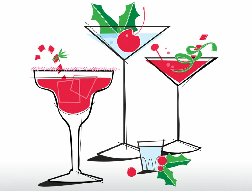Holiday Martini Clipart.