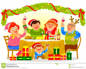 Family Celebrating Holiday Clipart.