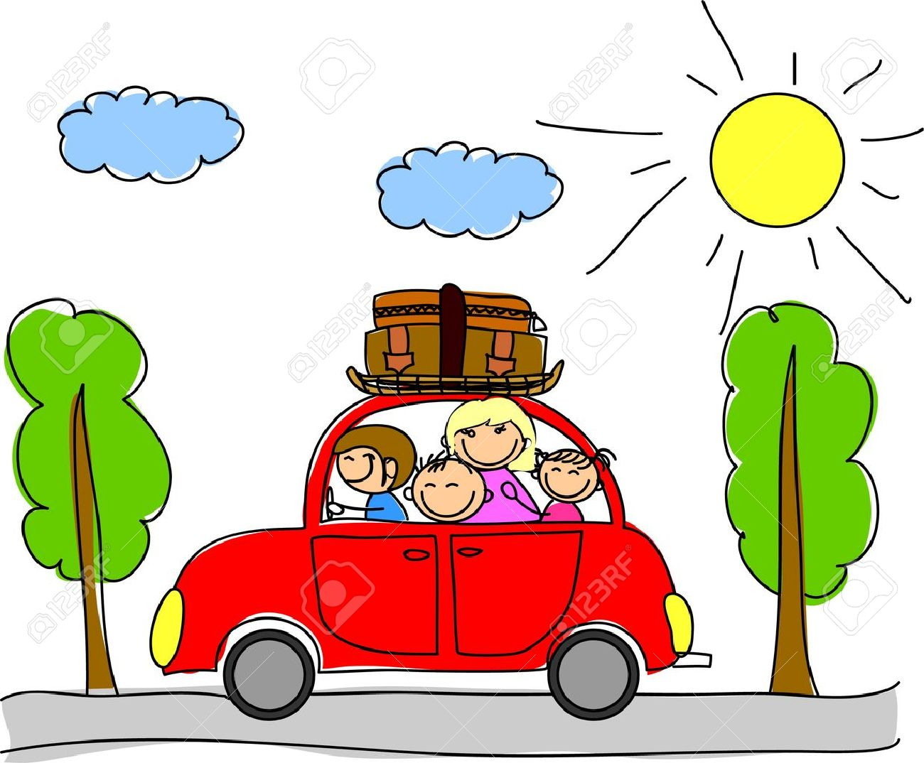 happy family going on holiday by car.