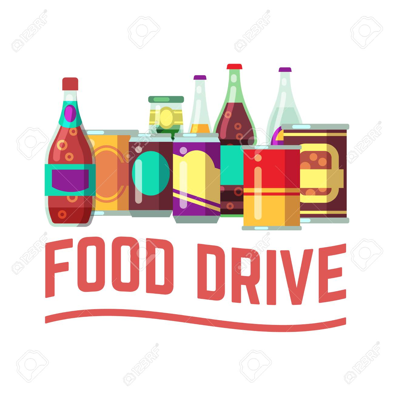 Holiday food drive concept. Canned food for christmas donation...