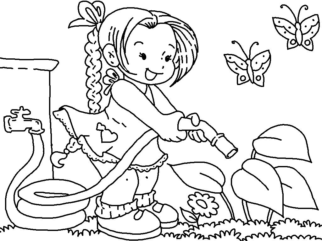 Flower garden clipart coloring.