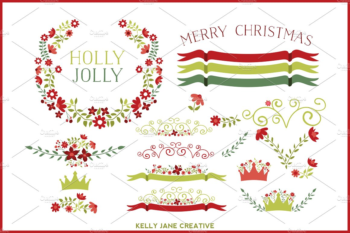 Holiday Floral Clipart Vector ~ Illustrations on Creative Market.