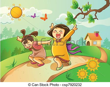 Vector Illustration of Happy Kids Playing on The Garden.