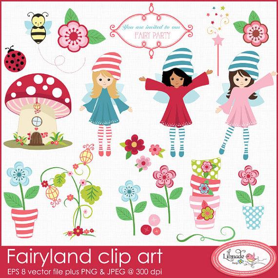 Fairyland clip art fairy clip art fairy garden clip by bylilmade.