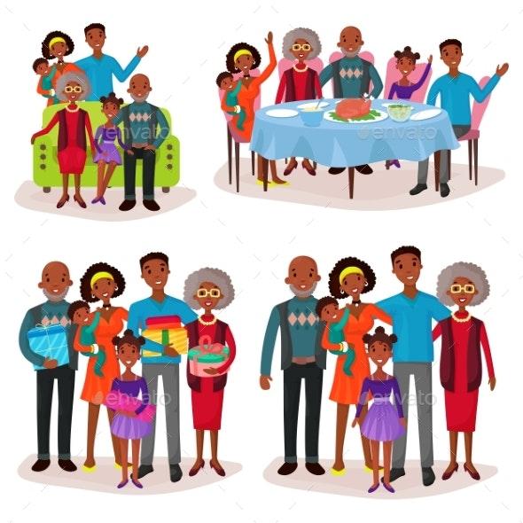 Family Set at Holidays or Festive Gathering.