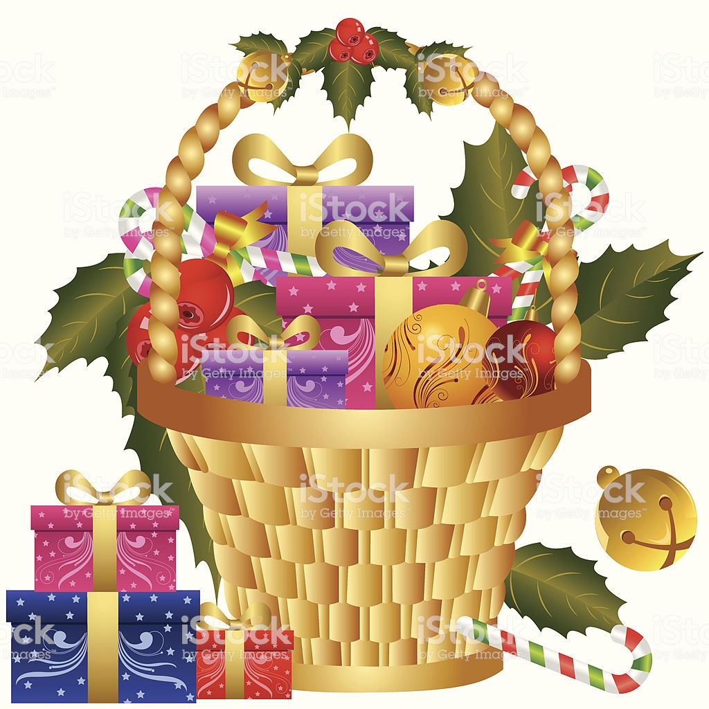 Christmas Gift Basket Stock Vector Art & More Images of Backgrounds.
