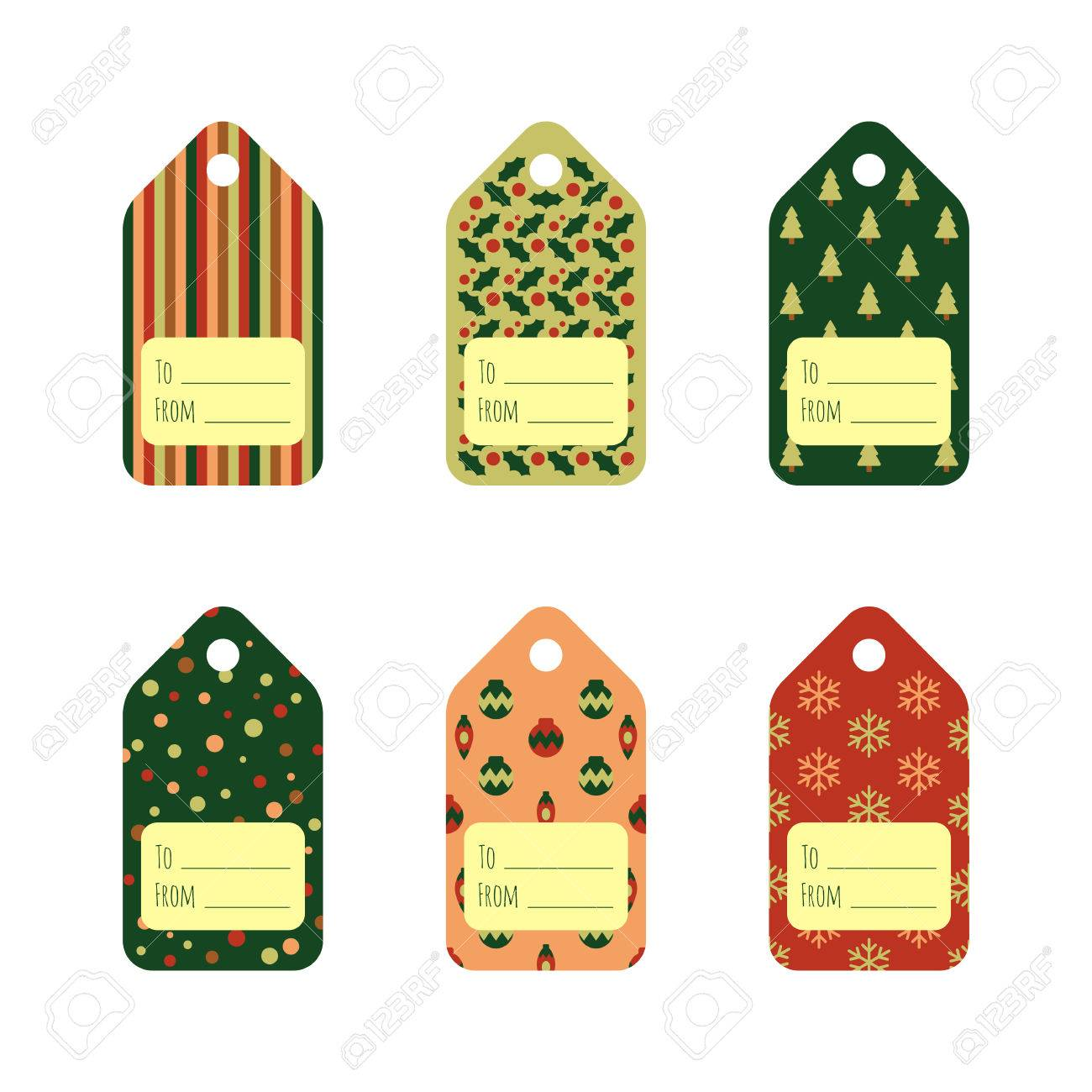 Set of bright Christmas gift tags in traditional colors. Holiday...