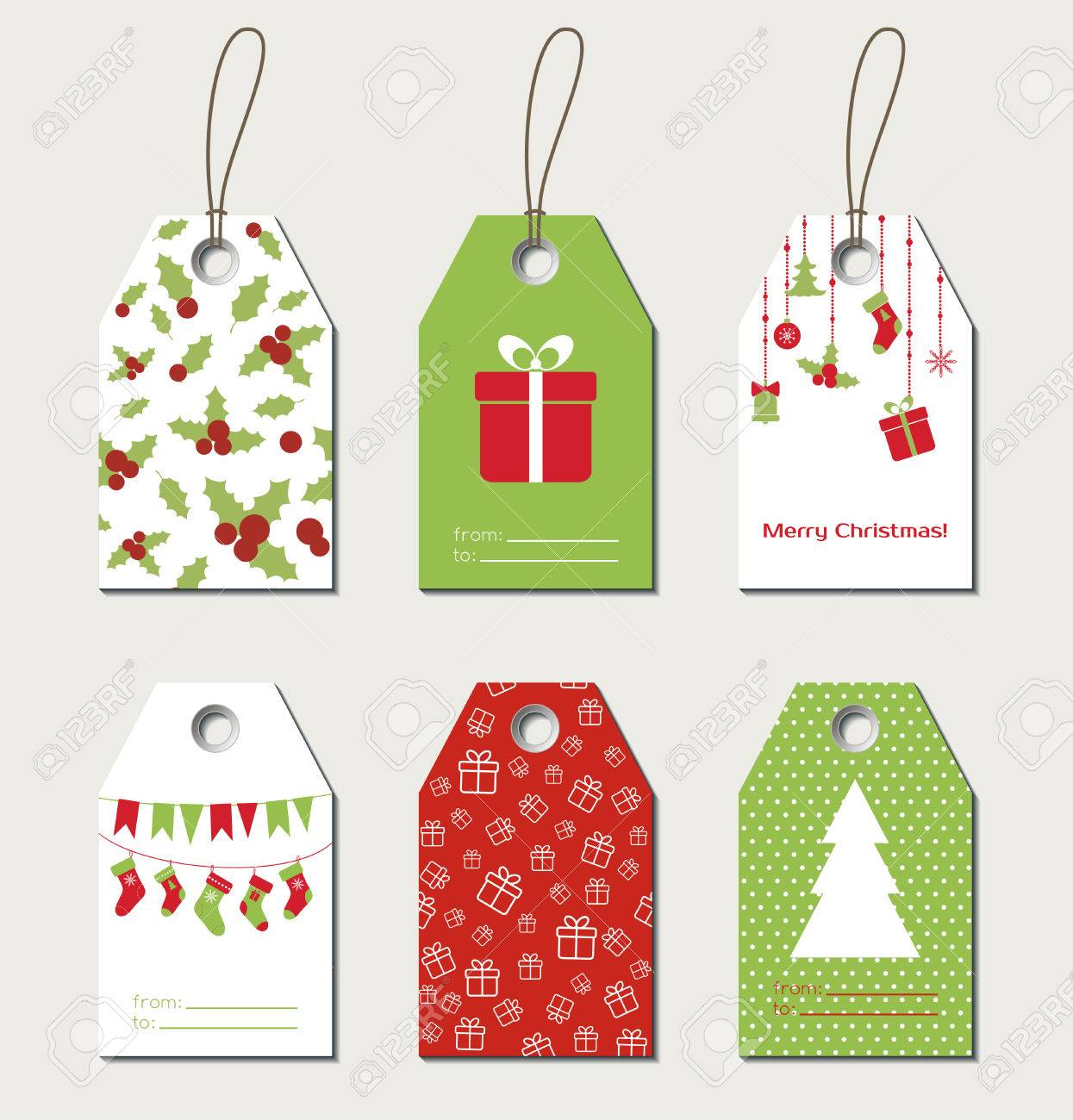 Christmas gift tags. Vector gift labels, tags.