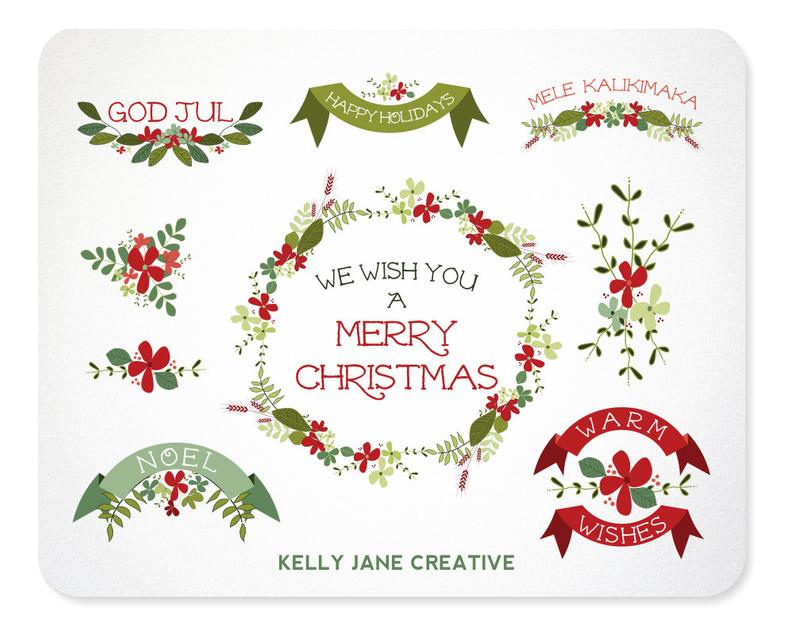 Christmas Wreaths, Holiday Greenery, Garlands & Ribbons Clipart.