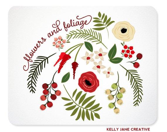 Christmas Flowers & Greenery Clip Art.