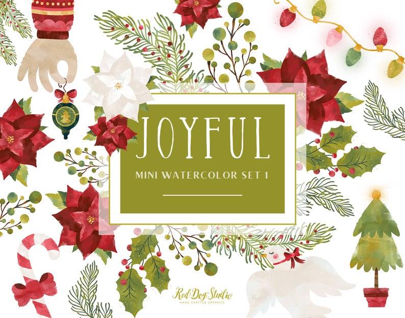 Watercolor Christmas Clip Art Graphics, Holiday Greenery, Christmas Lights,  Watercolor Ornament Clip Art, Poinsettia, Joyful Mini Set 1.