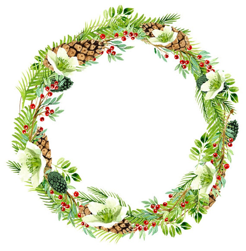 Greenery Berry Christmas Clipart Holiday Wreath White Flowers and Holly  Watercolor Wreath Winter Wreath Winter Print.