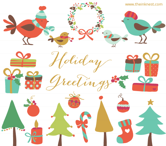 Free holiday greetings clipart.