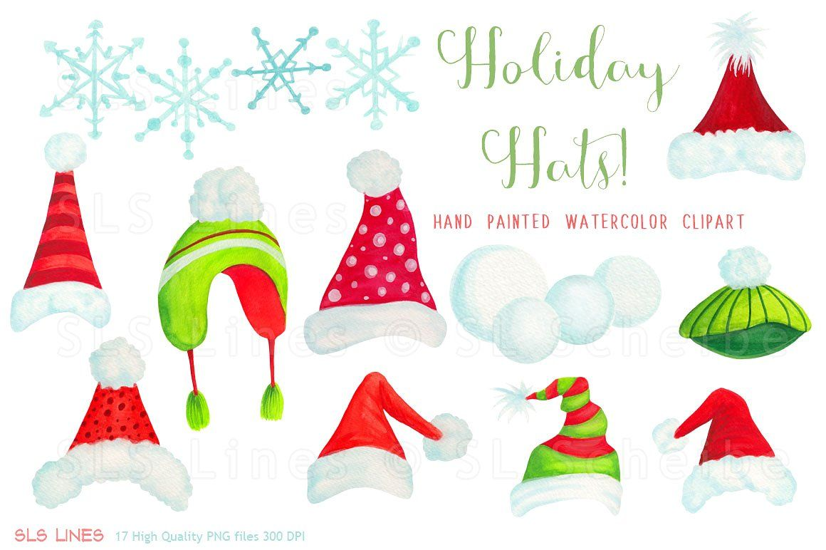 Christmas Holiday Hats Clipart #watercolor#art#digitized.