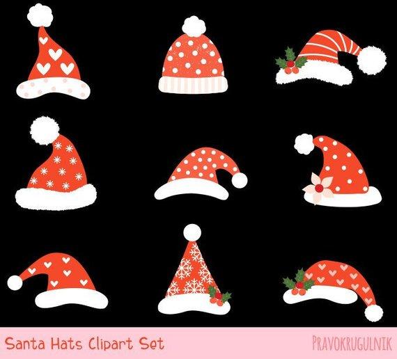 Cute Santa hat clipart, Santa Claus hat clip art, Funny.