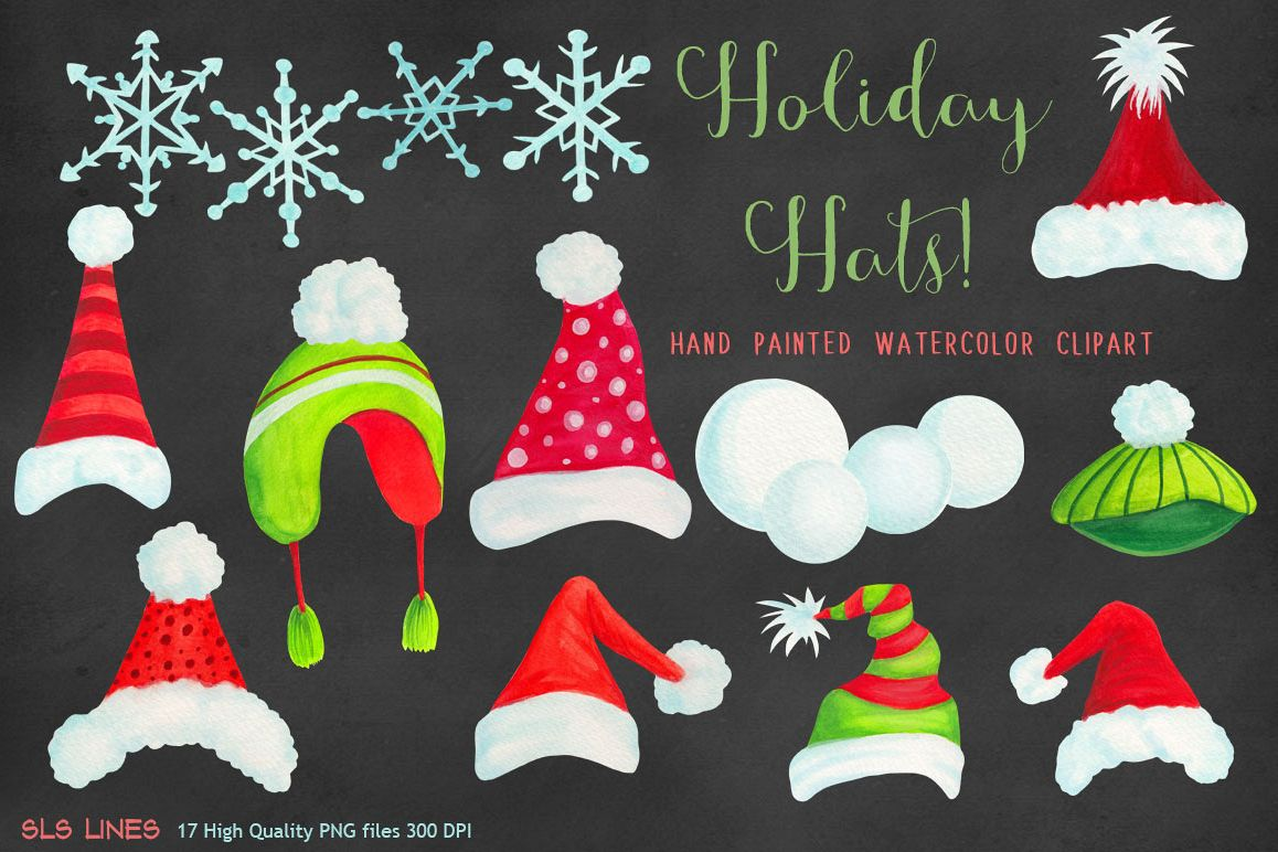 Christmas Holiday Hats Clipart.