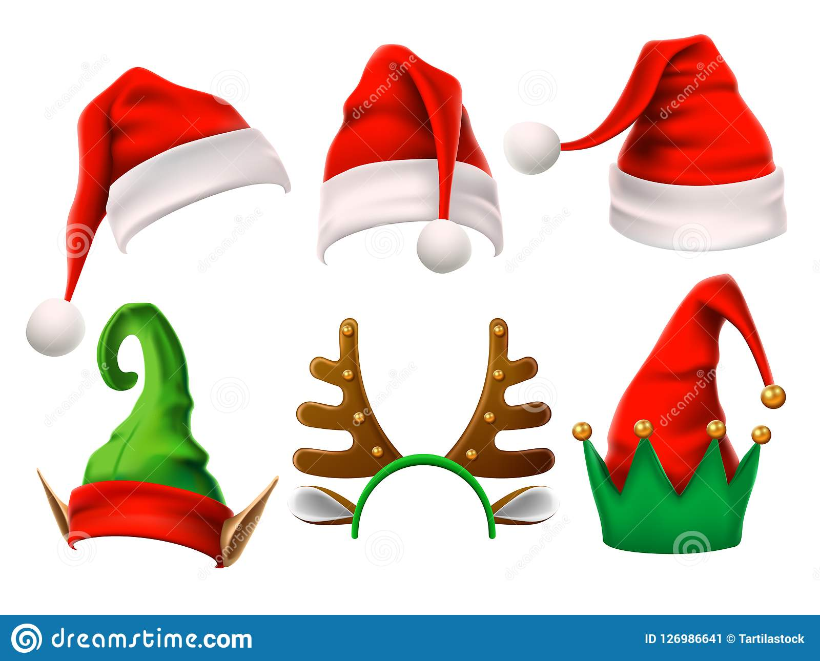 Christmas Holiday Hat. Funny 3d Elf, Snow Reindeer And Santa Claus.