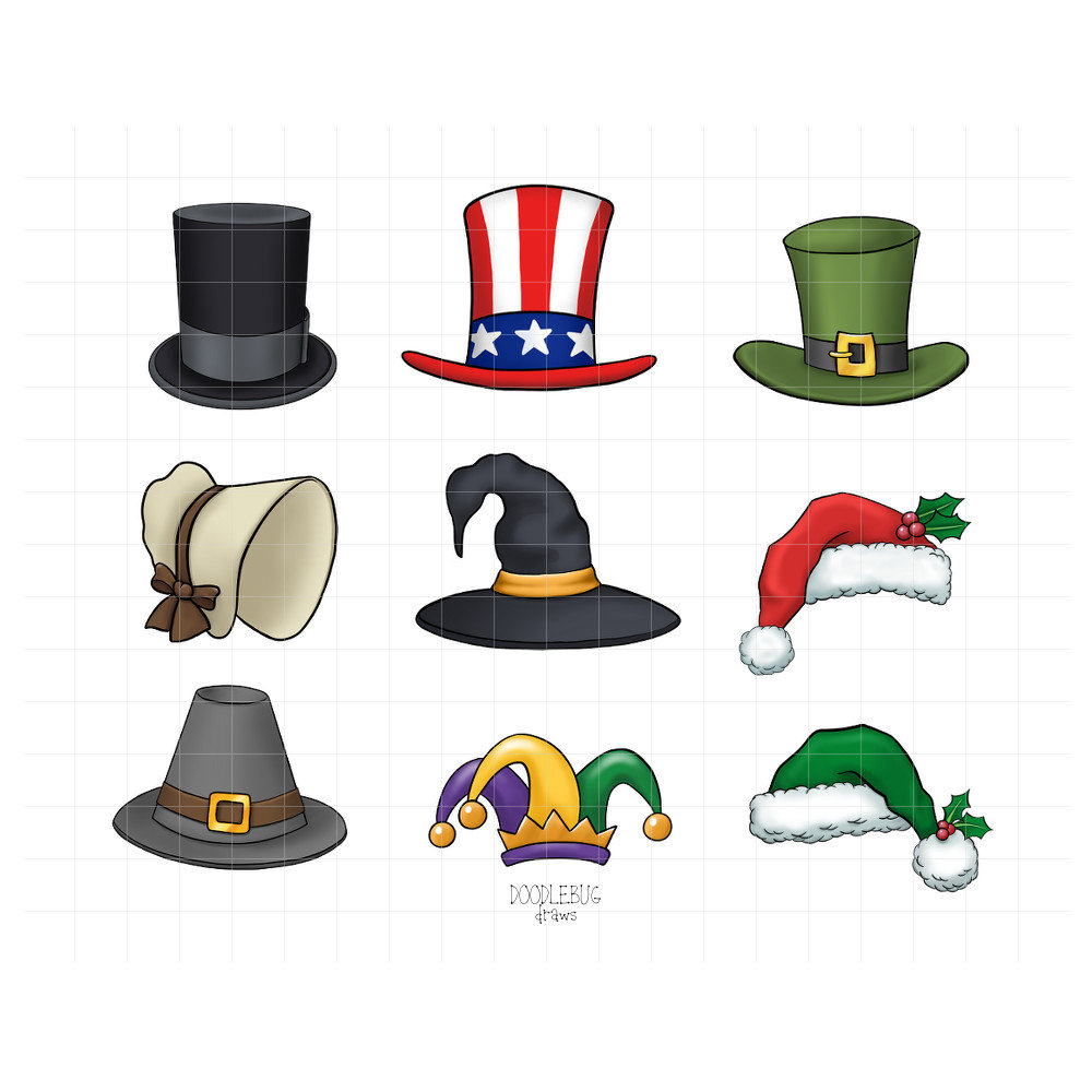 Holiday Hats Digital Planner Stickers.