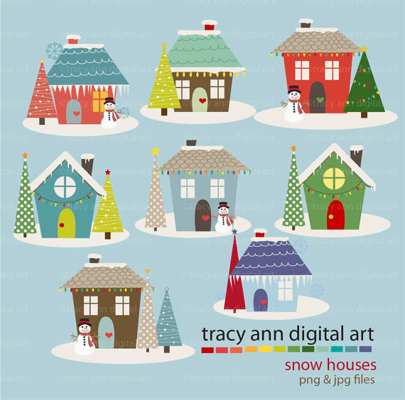 Holiday Houses Clipart Snow Christmas Xmas Holiday Clipart.