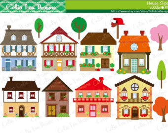 Items similar to Holiday Houses Clipart Snow Christmas Xmas.