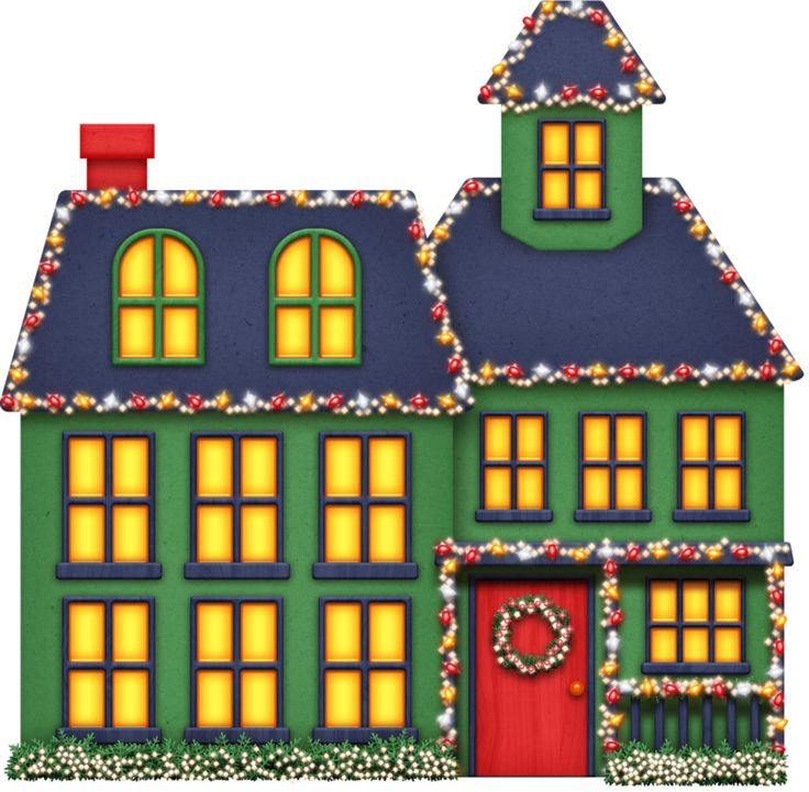 Christmas lights on house clipart