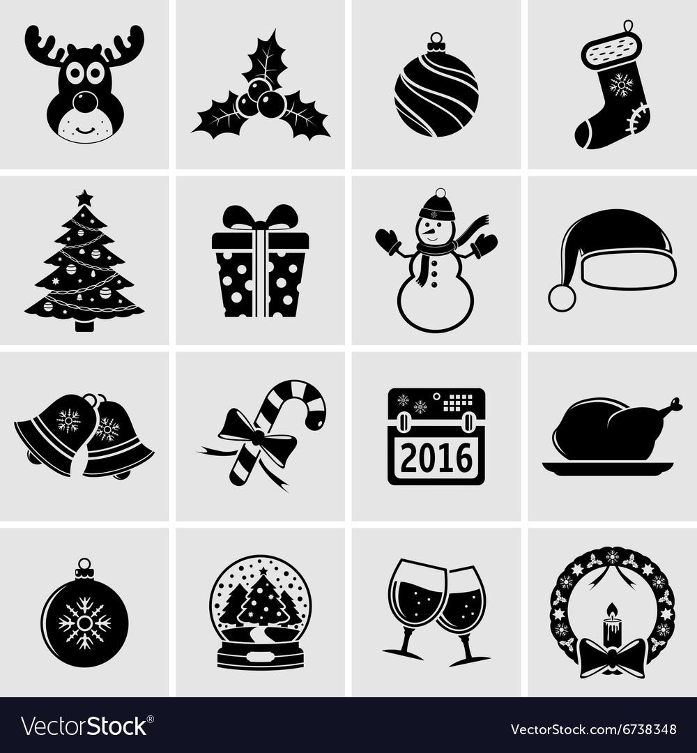 Christmas holiday icons.
