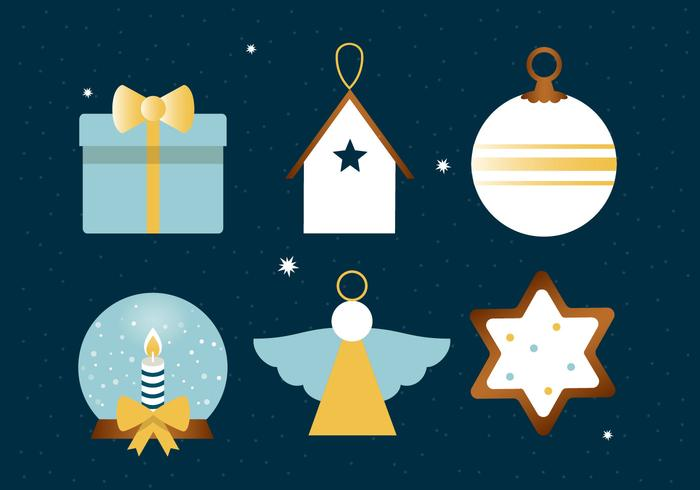 Free Flat Design Vector Winter Holiday Icons.