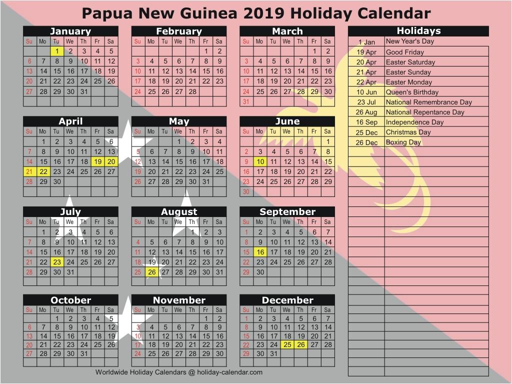 Papua New Guinea 2019 / 2020 Holiday Calendar.