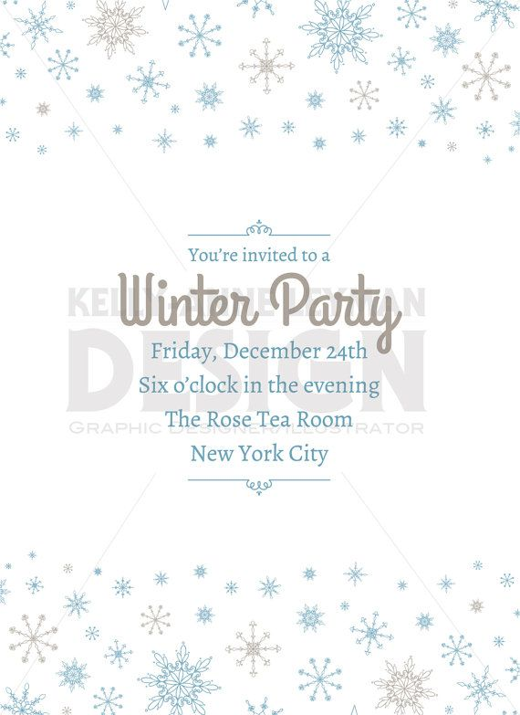 Printable Holiday Invitation, Printable Winter Invitation, Digital.