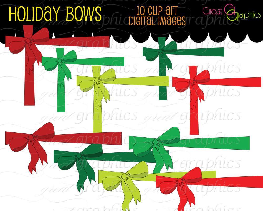 Christmas Bow Digital Clip Art Christmas Printable Clipart Clip Art Bow  Christmas Invitation Clipart.