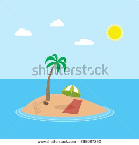 Vector Cartoon Scene Exotic Holiday Island Stock Vector 395087263.