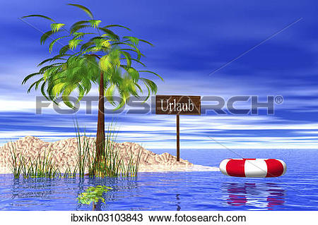 """Stock Photo of """"Small holiday island with sign """"""""""""""""Urlaub."""