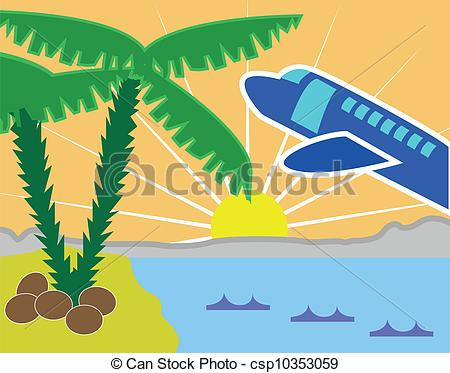 Clipart Vector of Tropical holiday island with beach and airplane.
