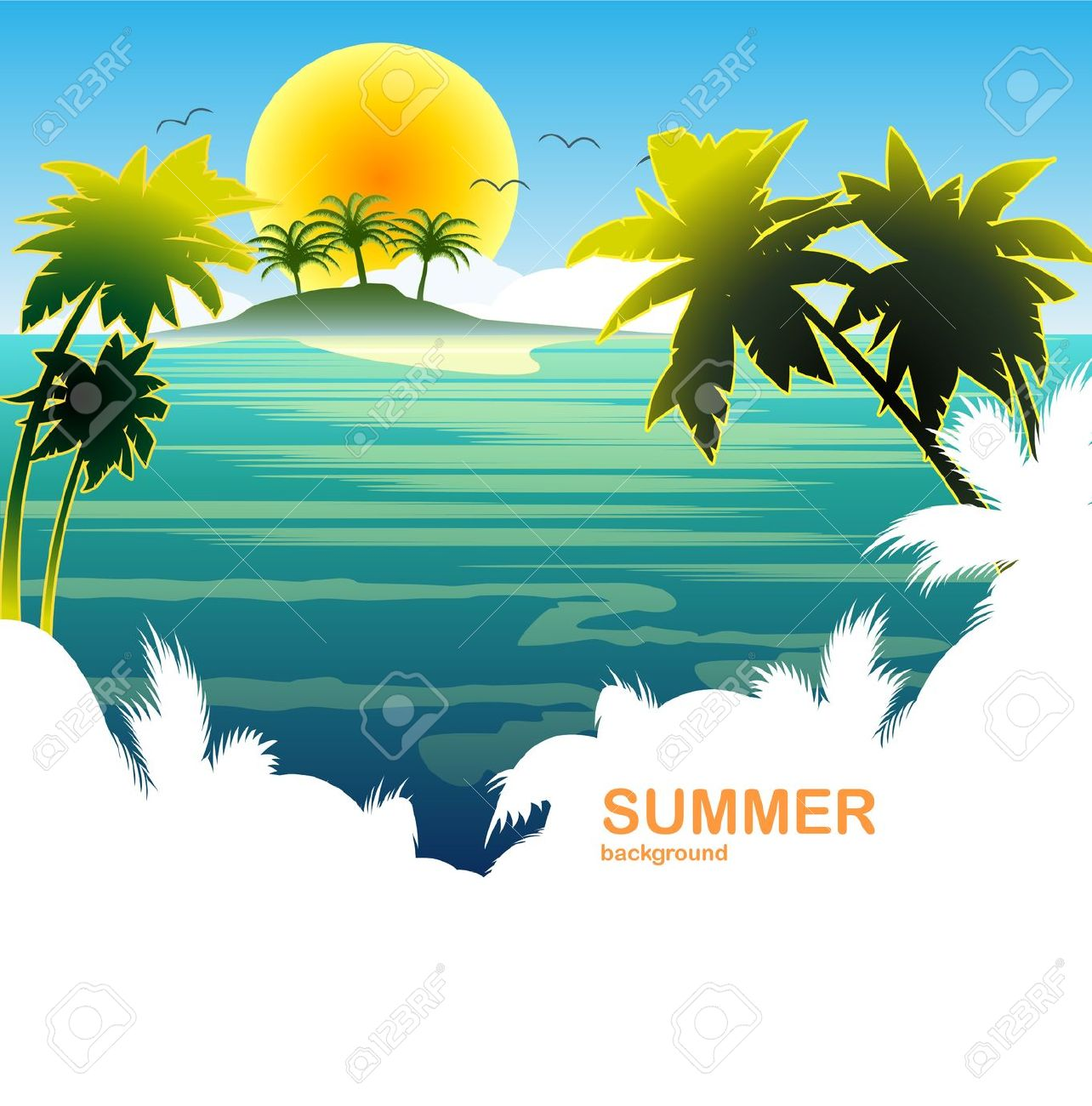 Travel Summer Holiday Tropical Island Sun Royalty Free Cliparts.
