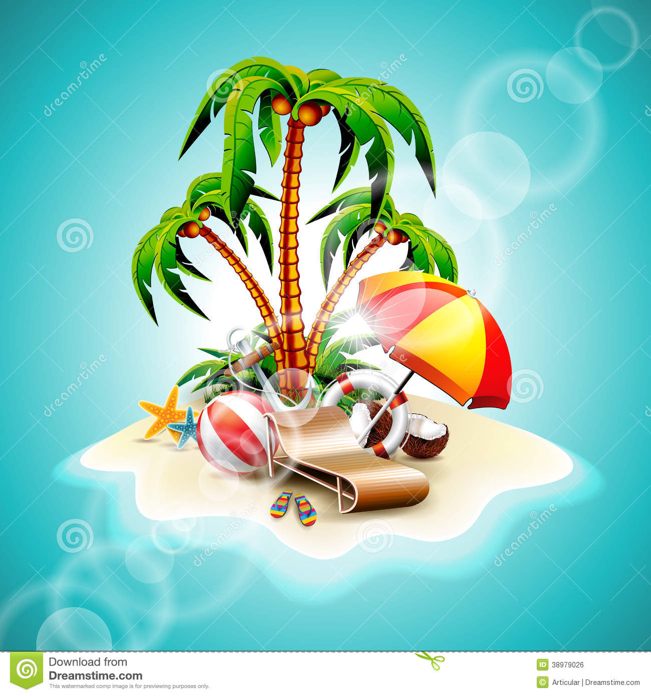 Vector Illustration On A Summer Holiday Theme Stock Vector.