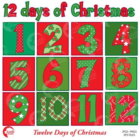 Christmas Numbers Clipart, Twelve Days of Christmas, Christmas.