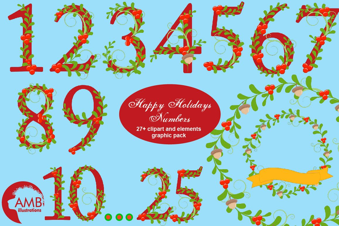 Happy Holiday Numbers Clipart AMB.