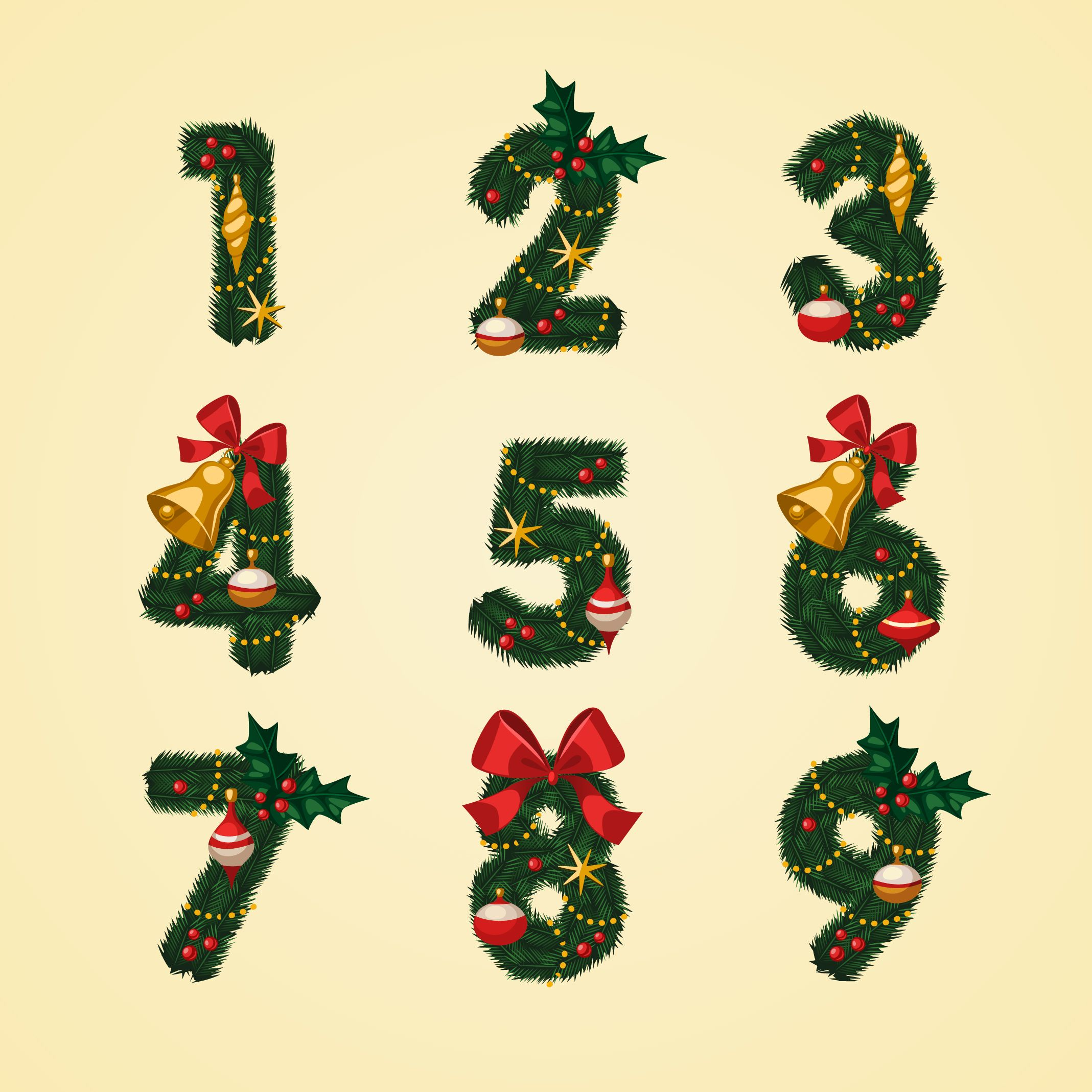 Download Christmas themed alphabets and numbers. #Christmas.