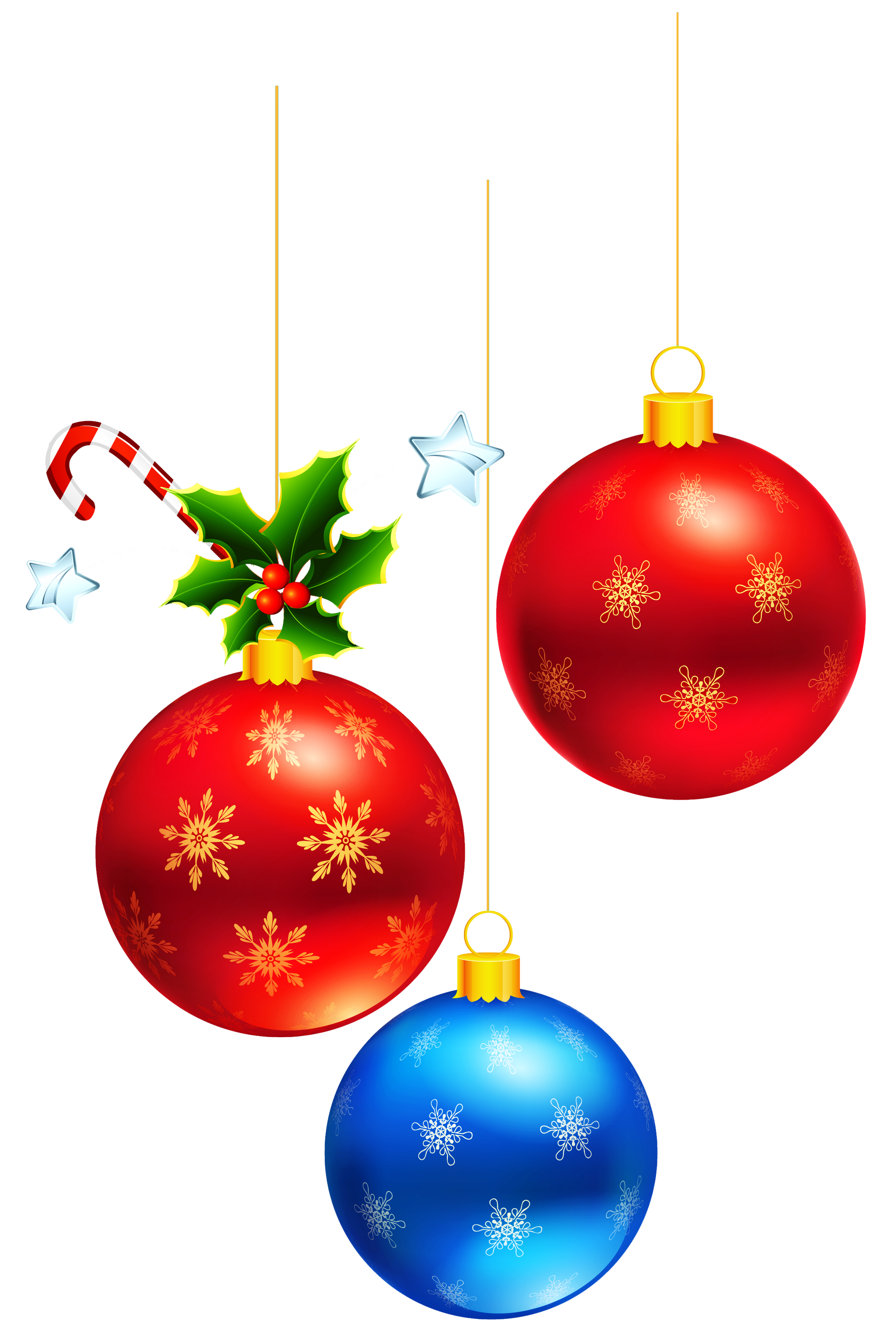Transparent Deco Christmas Ornaments Clipart.